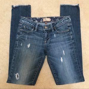 Paige skyline distressed skinny jeans size 26